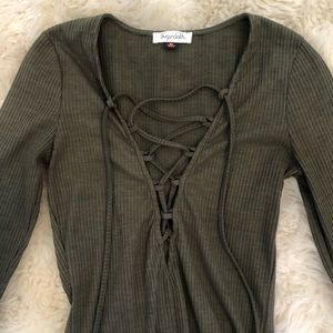 Tops - Army green lace up long sleeve body suit